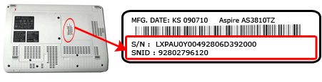 locating your acer snid or serial number